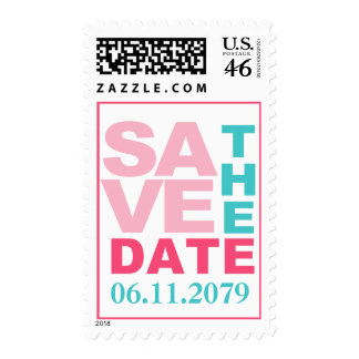 Pink Teal Modern Save the Date Postage Stamp
