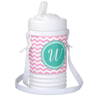 Pink Teal Monogram Initial Chevron Personalized Cooler