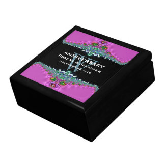 Pink Teal Monogram Wedding Anniversary Gift Box