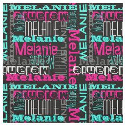 Pink Teal Name Custom Modern Collage Girls Fabric