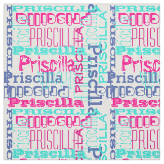 Pink Teal Name Modern Personalized Collage Girls Fabric