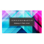 Pink Teal Navy Blue Painted Modern Geometric Business Card