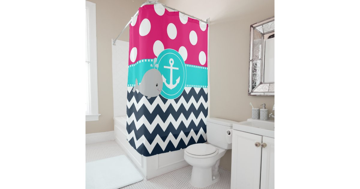 pink teal navy whale shower curtain zazzle