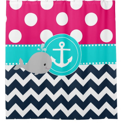 Pink Teal Navy Whale Shower Curtain