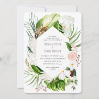 Pink, teal   orchid tropical floral wedding invite