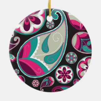 Pink Teal Paisley Pattern Ceramic Ornament