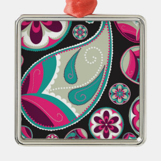 Pink Teal Paisley Pattern Metal Ornament
