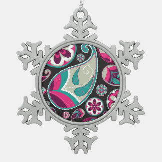 Pink Teal Paisley Pattern Snowflake Pewter Christmas Ornament