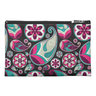 Pink Teal Paisley Pattern Travel Accessory Bag