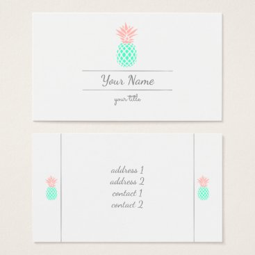 Professional Business pink teal pineapple business card