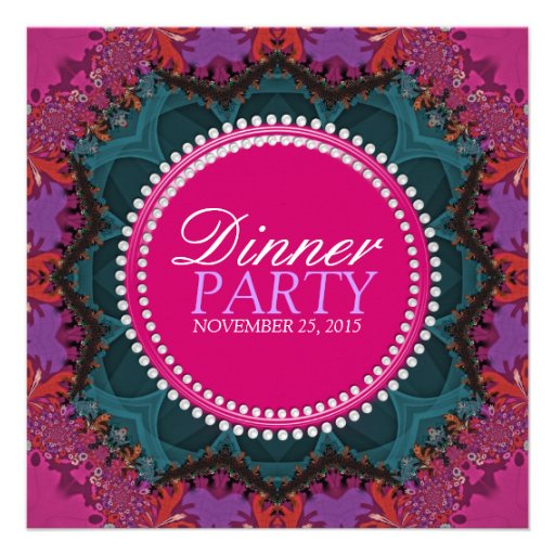Pink Teal Pretty Ladies Dinner Party Invitation