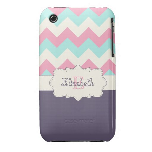Pink Teal Purple Chevron iPhone 3 Cover