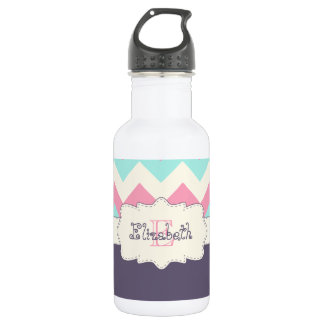 Pink Teal Purple Chevron Stainless Steel Water Bottle