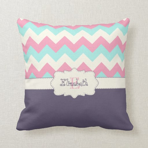 Pink Purple Decorative Pillows : Pink Teal Purple Chevron Throw Pillows Zazzle