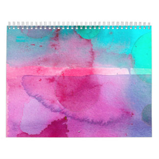 Pink Teal Purple Ombre Watercolor Calendar