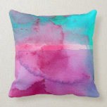 Pink Teal Purple Ombre Watercolor Pillow