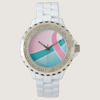 Pink & Teal ribbon watch