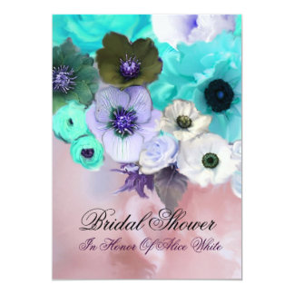 PINK TEAL ROSES AND ANEMONE FLOWERS BRIDAL SHOWER CARD