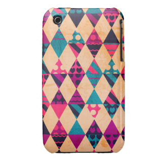Pink Teal Triangles iPhone 3 Covers