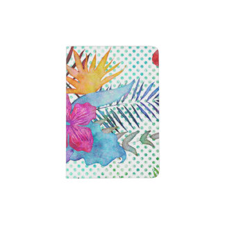 Pink & Teal Tropical Large Floral With Polka Dots Passport Holder