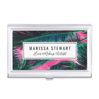 Pink Teal Tropical Summer Palm Tree Fronds Business Card Case