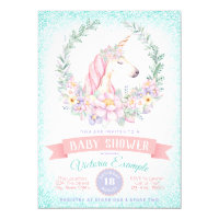 Pink and teal baby shower invitations announcements zazzle pink teal unicorn baby shower invitations filmwisefo Gallery