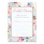 Pink Teal Watercolor Chic Floral Bridal Shower 5x7 Paper Invitation Card
