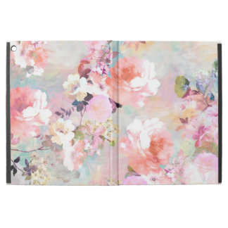 Pink teal watercolor chic floral pattern iPad pro case