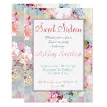 Pink Teal Watercolor Chic Floral Pattern Sweet 16 Invitation