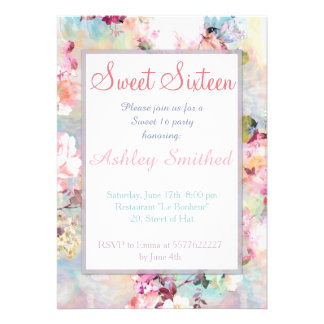 Pink Teal Watercolor Chic Floral Pattern Sweet 16 Cards