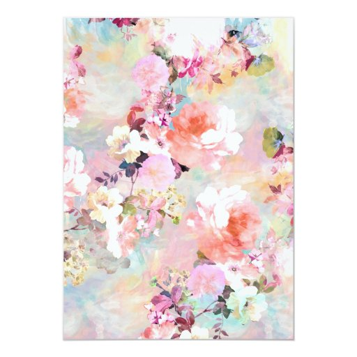 Pink Teal Watercolor Chic Floral Pattern Sweet 16 Cards (back side)