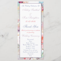 Pink Teal Watercolor Chic Floral Wedding Program