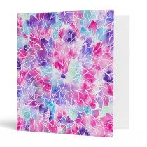 Pink teal watercolor hand painted floral pattern binder