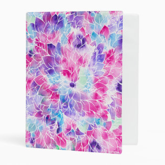 Pink teal watercolor hand painted floral pattern mini binder