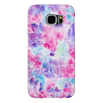 Pink teal watercolor hand painted floral pattern samsung galaxy s6 case