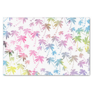 """Pink teal watercolor modern palm tree pattern 10"""" x 15"""" tissue paper"""