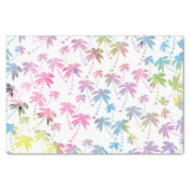 Pink teal watercolor modern palm tree pattern tissue paper
