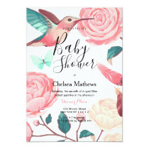 Pink teal white hummingbird floral Baby Shower Invitation