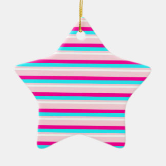 Pink Teal White Stripes Ceramic Ornament