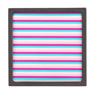Pink Teal White Stripes Premium Jewelry Box