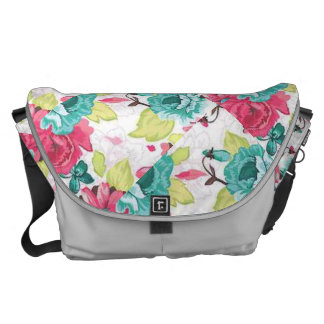 Pink Teal Yellow and White Rose Print Bag Courier Bags