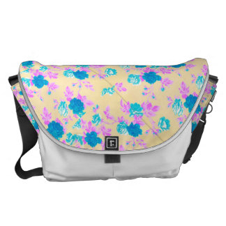 Pink Teal Yellow and White Rose Print Bag Messenger Bags