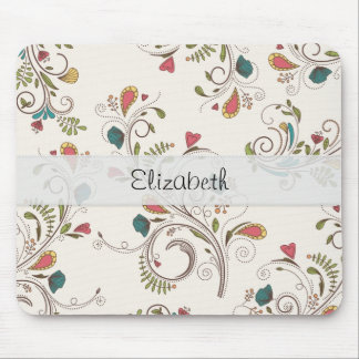 Pink Teal Yellow Flower Swirl Stitched Vellum Mouse Pad