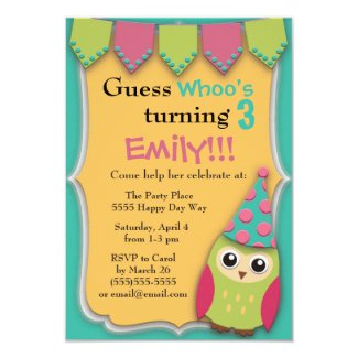 Pink Teal Yellow Green Owl Child's Birthday Party 3.5x5 Paper Invitation Card