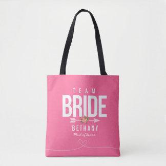 Pink TEAM BRIDE Bridesmaid Wedding Tote