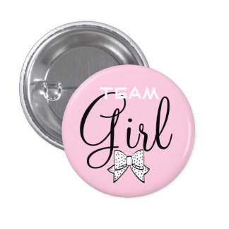 Pink Team Girl Baby Shower Game Pinback Button