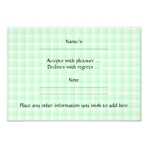 Pink Teapot Design on Green Check. 3.5x5 Paper Invitation Card