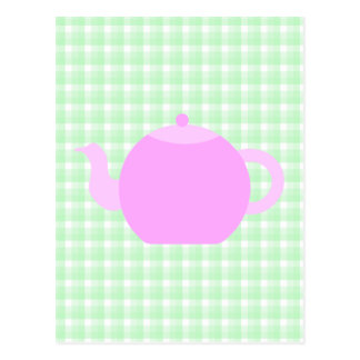 Pink Teapot Design on Green Check. Postcard