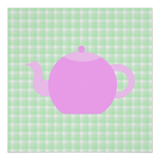 Pink Teapot Design on Green Check. Poster