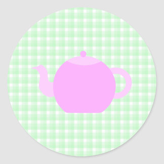 Pink Teapot Design on Green Check. Round Sticker